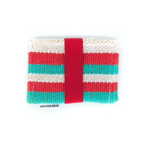 Red and Teal Stiped Two Pocket Wallet