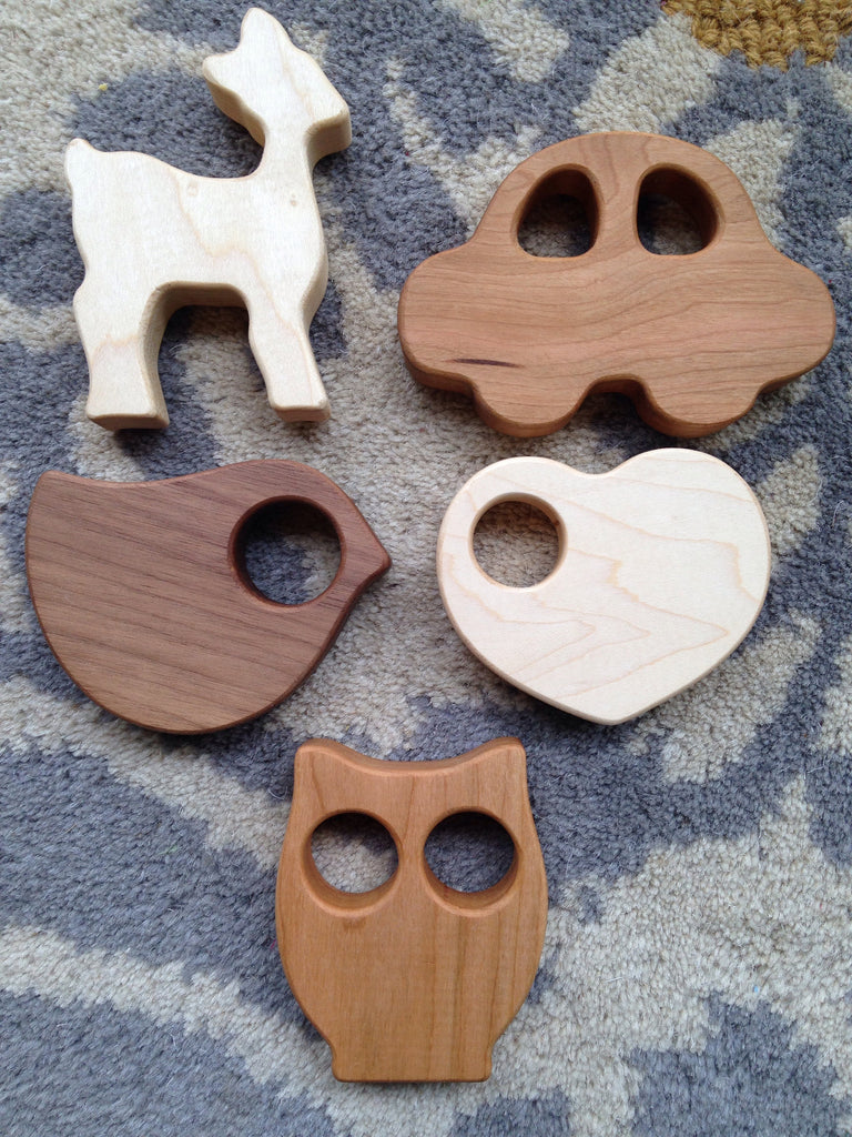American hardwood baby rattles with orhanic jojoba oil and beeswax sealant