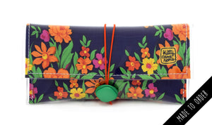 Button Clutch - Colourful floral bouquets - vintage fabric