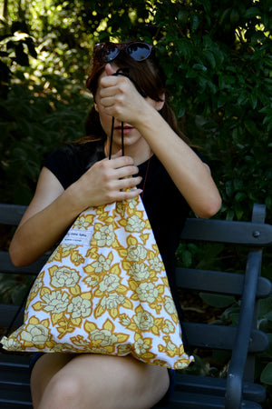 Backpack tote - Mustard floral