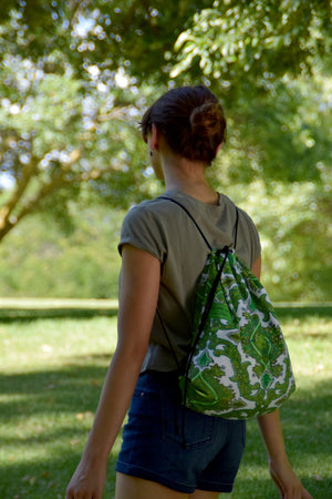 Backpack tote - Vintage giant green paisley