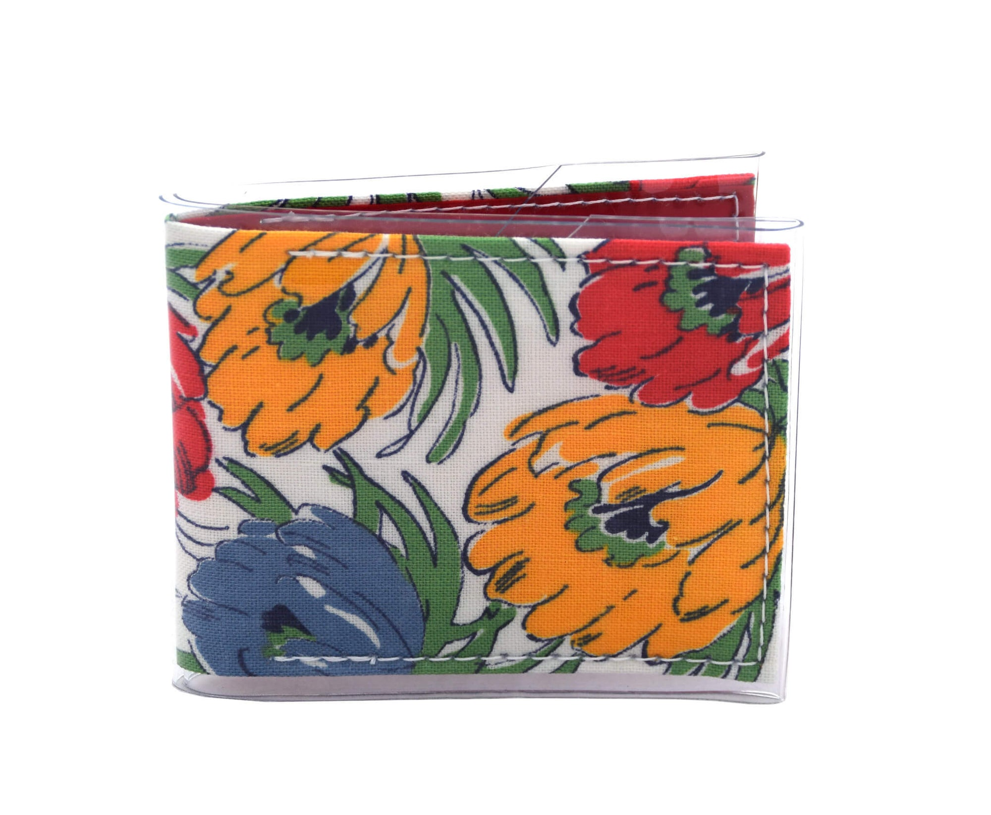 Card Wallet - Floral linen vintage fabric