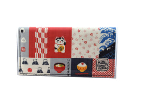 Bi-fold Plus - Lucky Cat - Japanese fabric
