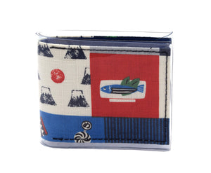 Pocket Wallet - Fish on a plate - Japanese fabric