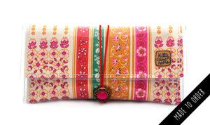 Button Clutch - Linear floral