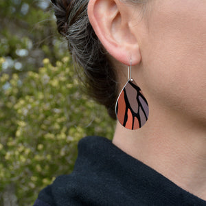 Monarch butterfly - droplet shepherds hook earrings