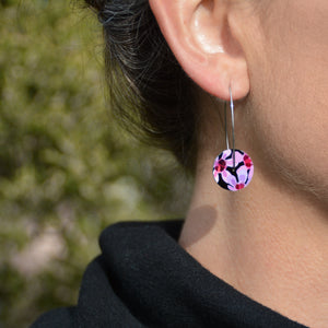 Geraldton Wax Flowers - circle drop hook earrings