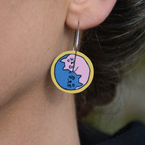 Yin Yang Cats - circle hoop earrings