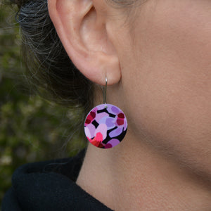 Geraldton Wax Flowers - circle shepherds hook earrings