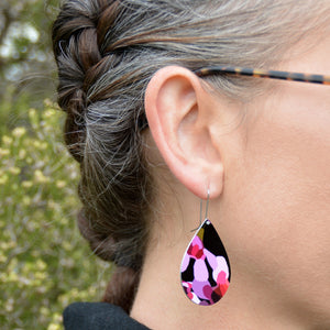 Geraldton Wax Flowers - droplet shepherds hook earrings