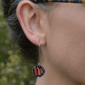 Monarch butterfly - circle drop hook earrings