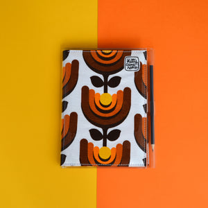 A5 Journal - Orange yellow retro flower