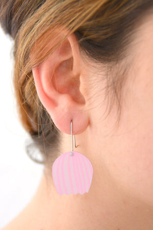 Mabel's Garden - Pink bell flower - Birds Nests For Hair - flower shepherds hook earrings