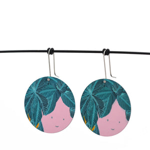 Pot plant face - Birds Nests For Hair - circle shepherds hook earrings