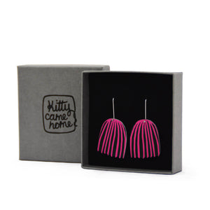 Mabel's Garden - Pink and black bell flower - Birds Nests For Hair - flower shepherds hook earrings