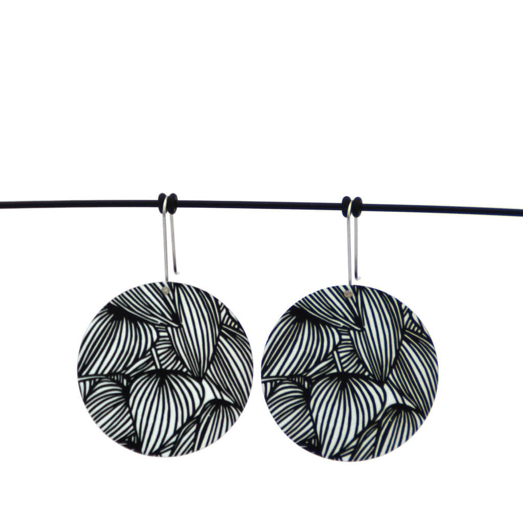 Luscious leafy lines - Birds Nests For Hair - circle shepherds hook earrings