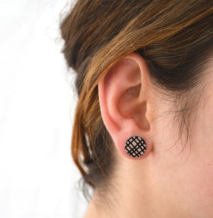 Crosshatch - Birds Nests For Hair - circle stud earrings