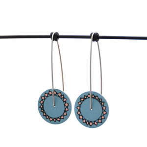 Facets - Vintage button sketch - circle drop hook earrings