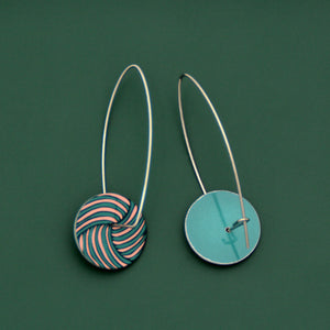 Woven knot - Vintage button sketch - circle drop hook earrings