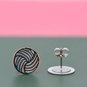 Woven knot - Vintage button sketch - circle stud earrings