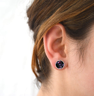 Geraldton Wax Flowers - domed circle stud earrings