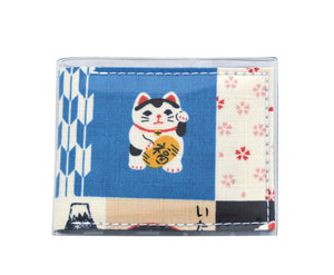 Card Wallet - Lucky Cat - Japanese fabric