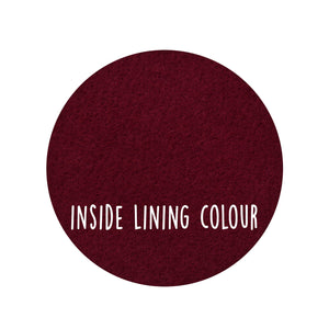 This image shows the burgundy colour of the lining of the product.
