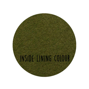This image shows the dark green colour of the lining of the product.