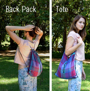 Backpack tote - Vintage purple plaid