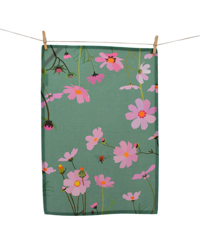 Tea Towel - Cosmos - Sage green