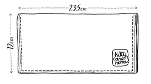 This image shows a sketch of the Kitty Came Home bifold plus purse clutch showing the dimensions. The large size is approximately 235mm long and 120mm wide.