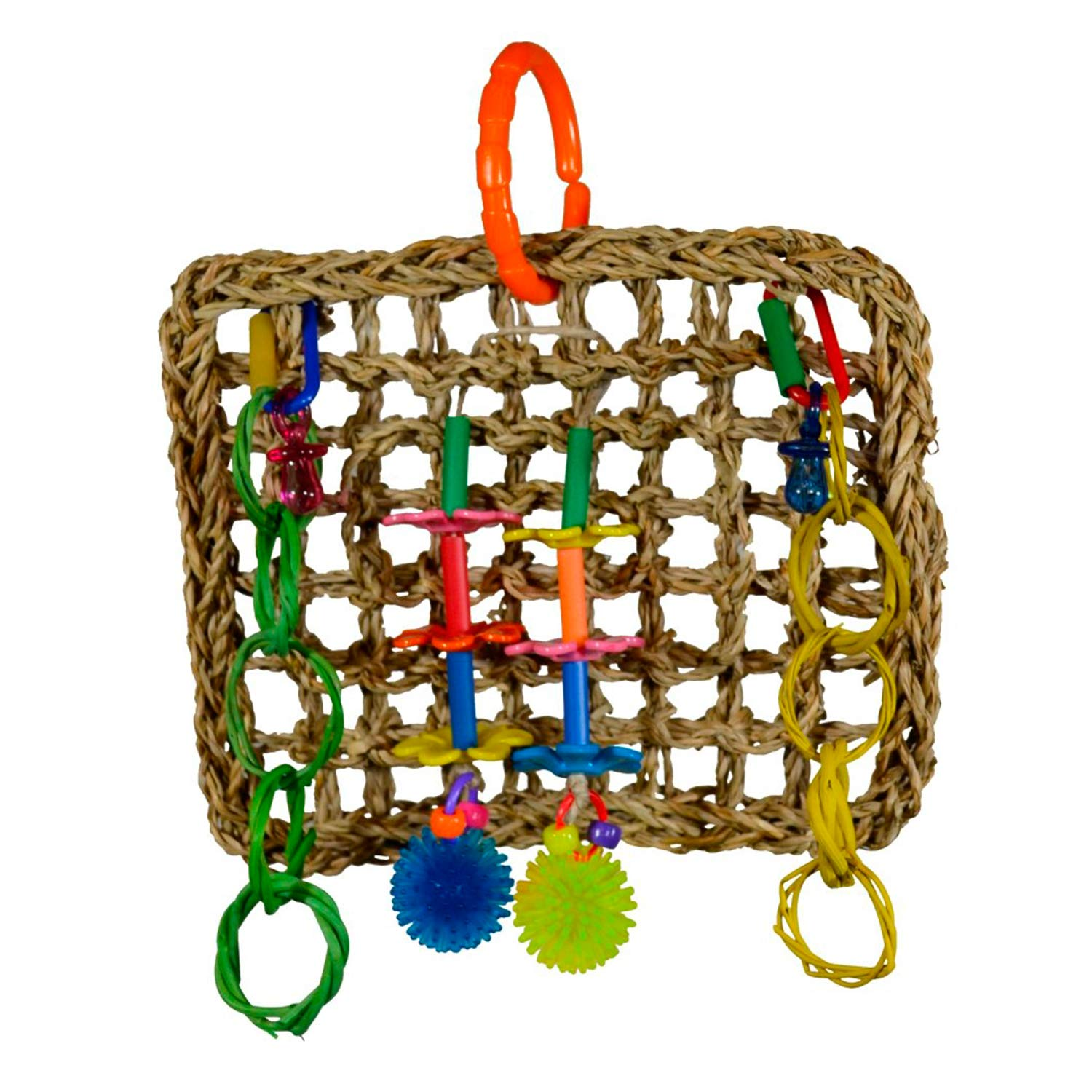 "Super Bird Creations Seagrass Mini Activity Wall with Colorful Foraging Toys for Parrots, Medium Size, 9"" x 7"" x 2"""