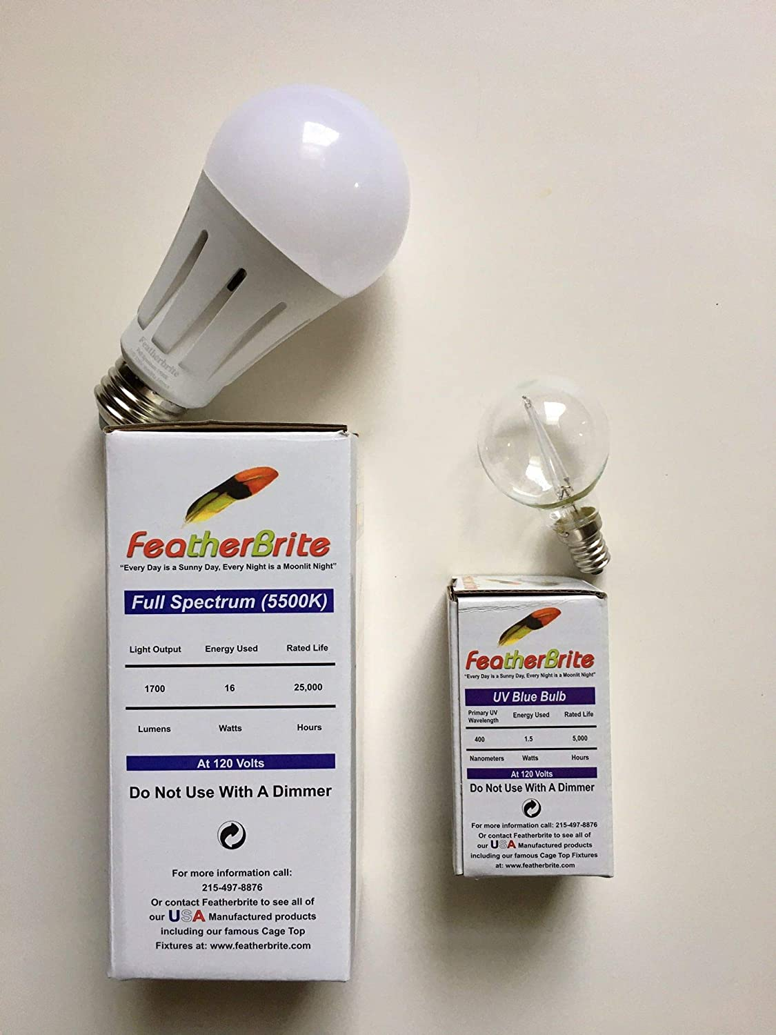 FeatherBrite Bird Bulbs New Conversion KIT - Healthy Full Spectrum Bulb 16W + UV Bulb 1.5W + Light Socket Adapters