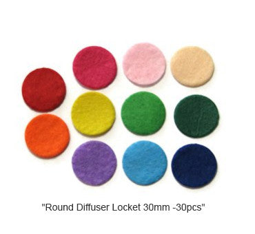 Round Diffuser Necklace Refill Pad 30mm  30pcs in a Bag Assorted Colors