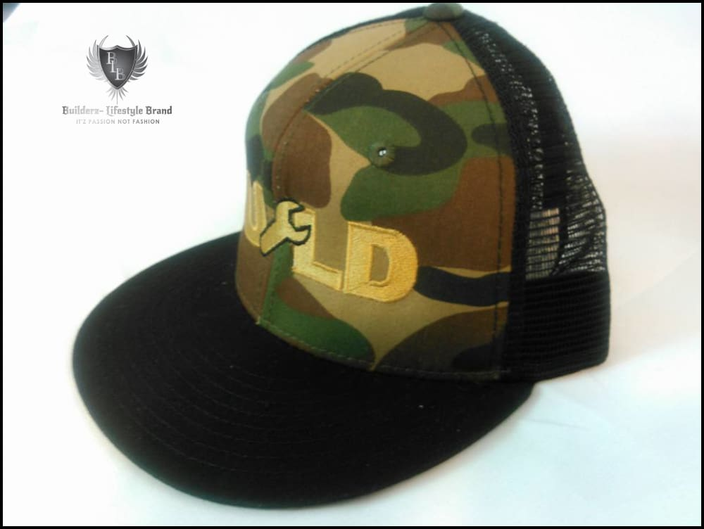 B.u.i.l.d.e.r.z - Boss Up Camo Snapbak (Black / Vegas Gold) Hats