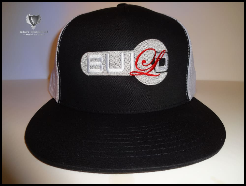 B.u.i.l.d.e.r.z Snapback (White Mesh) (Bloodshot Red/silver) (Wrench) Hats
