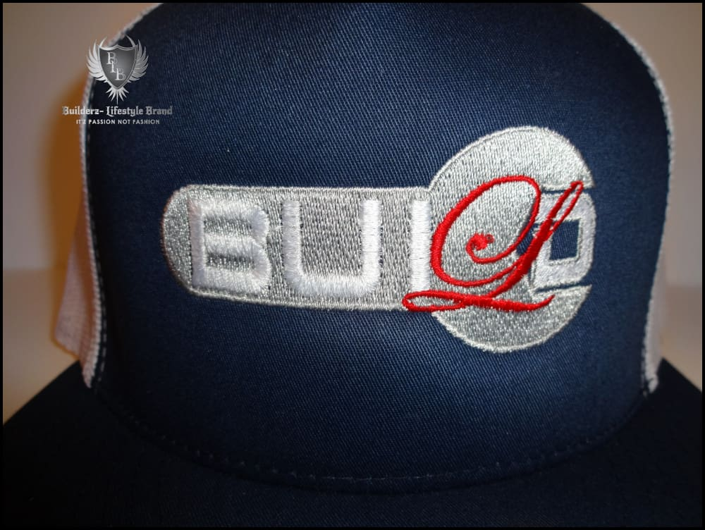 B.u.i.l.d.e.r.z Snapback White Mesh Blue (Bloodshot Red /silver) (Wrench) Hats