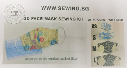 3D Face Mask Sewing Kit with paper patterns L, M, S and XS
