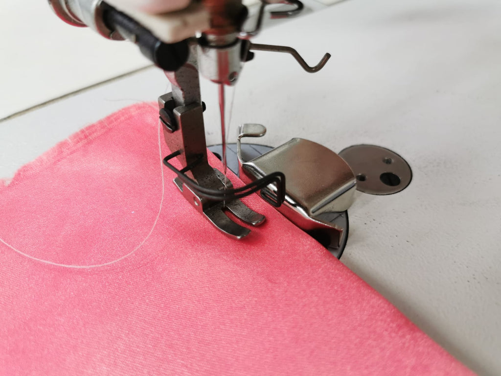 Magnetic Guide on Industrial Sewing Machine - Straight Sewing