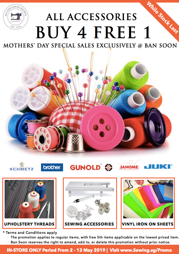 Buy 4 Get 1 Free Sewing Accessories Sewing Machine @ www.Sewing.sg