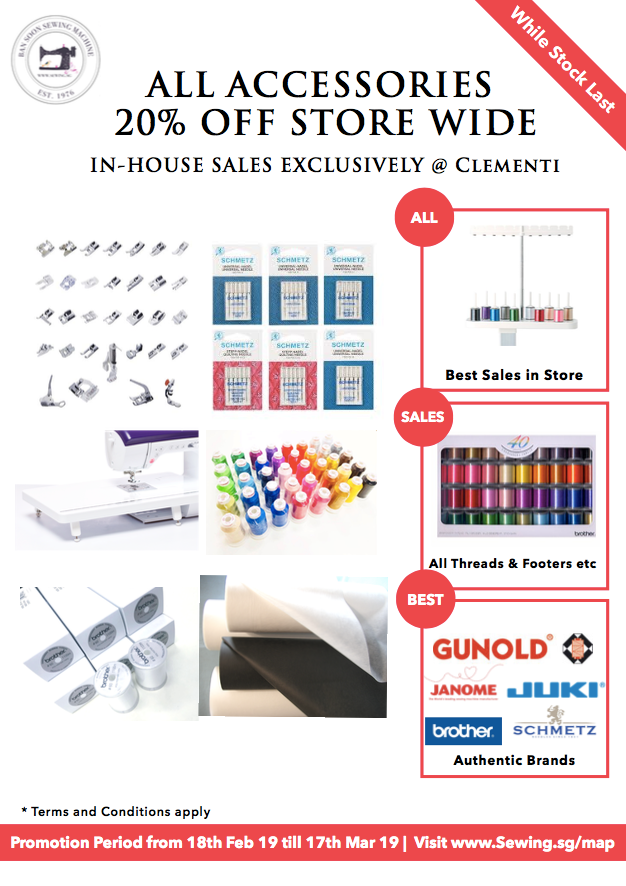 Accessories Promotion for Babylock, Brother, Janome, Singer, Juki & Merrylock Machine