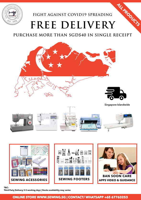 Free delivery with $40 spent on sewing machines and accessories! www.Sewing.sg