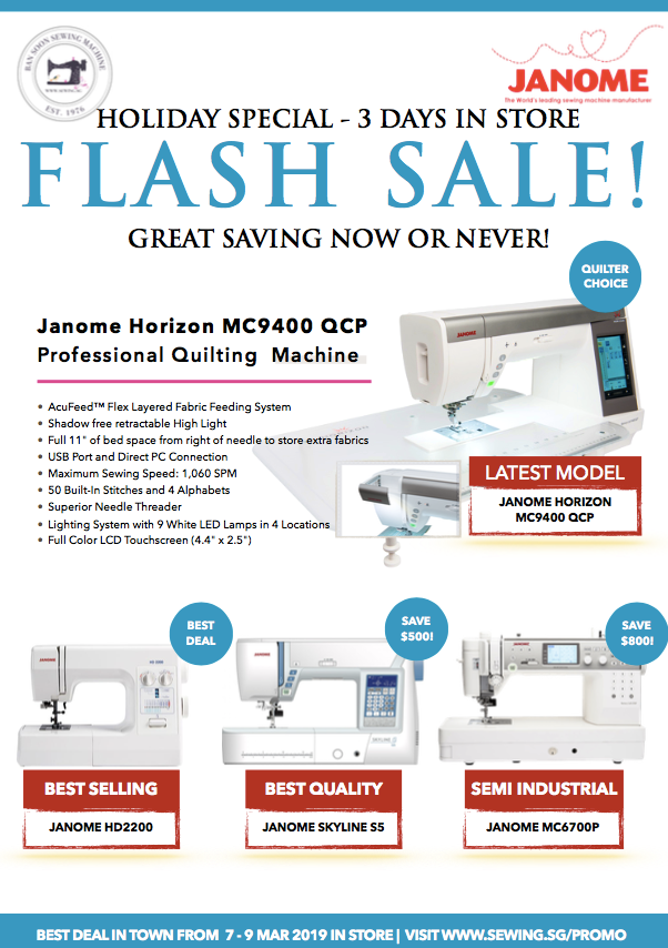 Janome Flash Sales Sewing.sg
