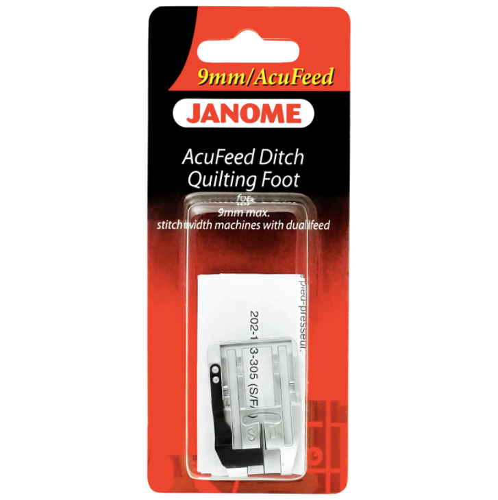 Janome Acufeed Ditch Quilting Foot - 9mm (Original) 9mm Stitch width machines with dual feed