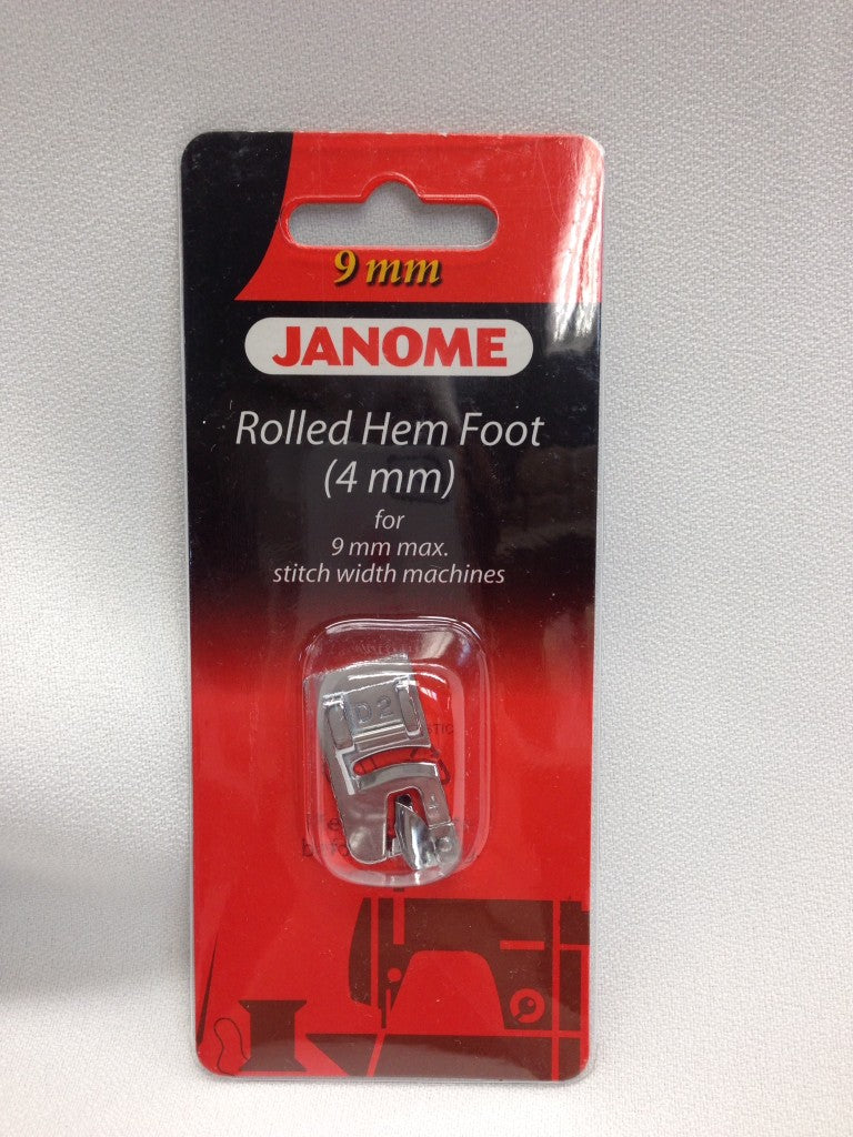 Janome Rolled Hem Foot 4mm 202081007 for 9mm Max Stitch Width Sewing Machine models www.Sewing.sg
