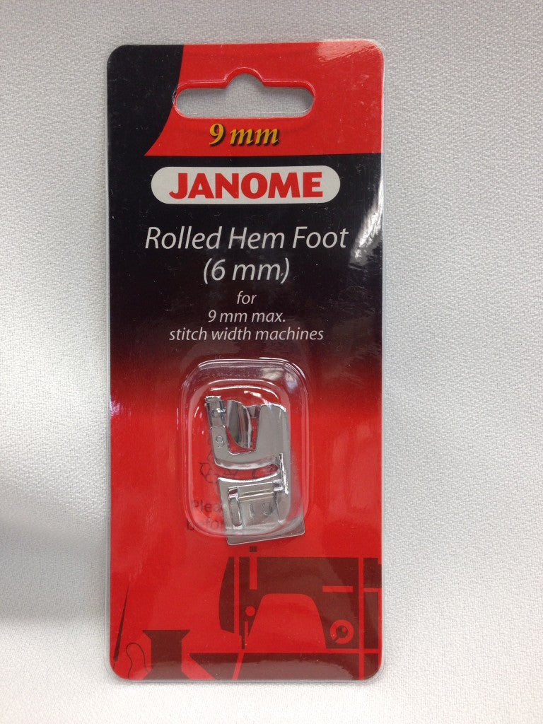 Janome Rolled Hem Foot 6mm 202080006 for 9mm Max Stitch Width Sewing Machine models www.Sewing.sg