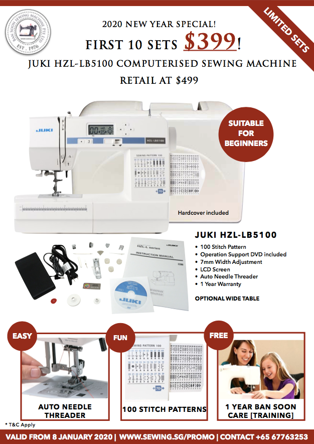 Juki HZL LB5100 Computerised Sewing Machine CLEARANCE 10 sets only at www.Sewing.sg
