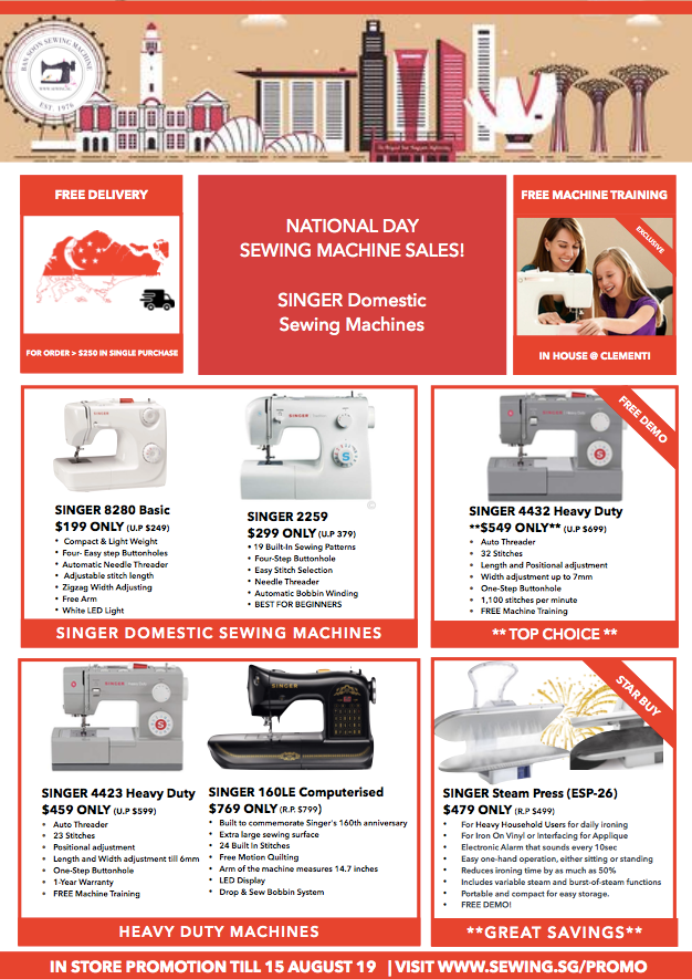 Sewing Machine Promotion for Babylock, Brother, Janome, Singer, Juki