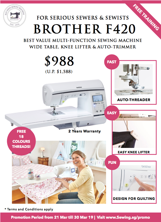 Brother F420 Quilting Sewing Machine with Free 18 Colours Sewing Threads