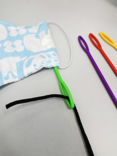 Face Mask stitching, Big eye Plastic needle for insertion of elastic cord through fabric channel